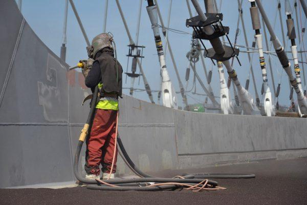 Man working on a bridge construction